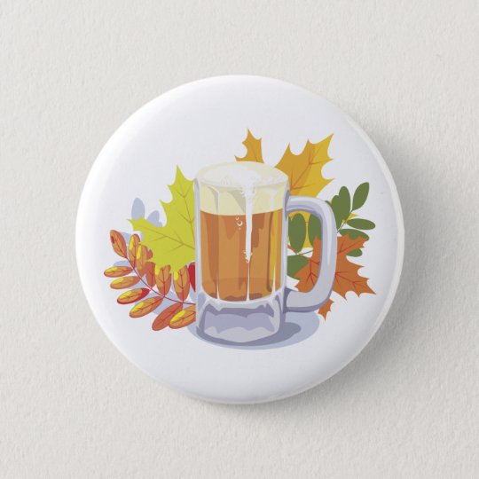 Beer and Leaves Pinback Button