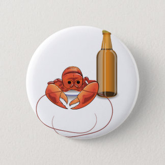beer and lobster pinback button