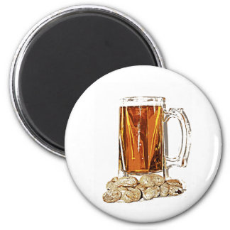 Beer and Peanuts 2 Inch Round Magnet