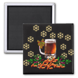 Beer and Peanuts 2 Inch Square Magnet
