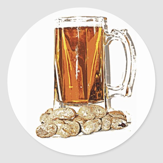 Beer and Peanuts Classic Round Sticker
