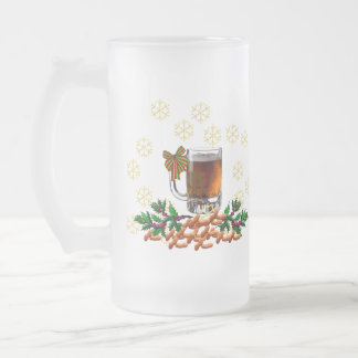 Beer and Peanuts Frosted Glass Beer Mug