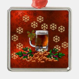Beer and Peanuts Metal Ornament