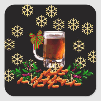 Beer and Peanuts Square Sticker