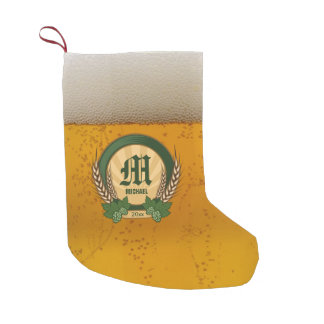 Beer and Personalized Monogram Logo Small Christmas Stocking