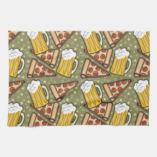 Beer and Pizza Graphic Hand Towel