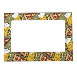 Beer and Pizza Graphic Magnetic Frame