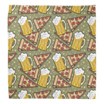 Beer and Pizza Graphic Pattern Bandana