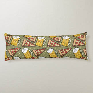 Beer and Pizza Graphic Pattern Body Pillow