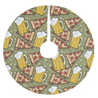Beer and Pizza Graphic Pattern Brushed Polyester Tree Skirt