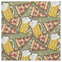 Beer and Pizza Graphic Pattern Fabric