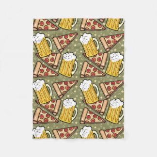 Beer and Pizza Graphic Pattern Fleece Blanket