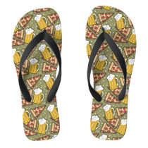Beer and Pizza Graphic Pattern Flip Flops