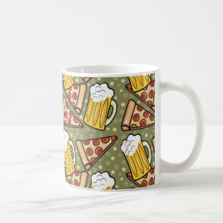 Beer and Pizza Graphic Pattern Classic White Coffee Mug