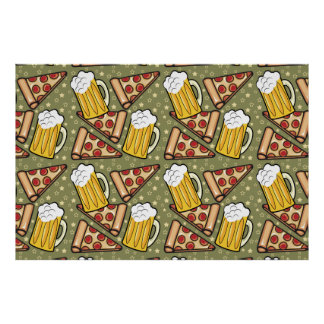 Beer and Pizza Graphic Pattern Poster