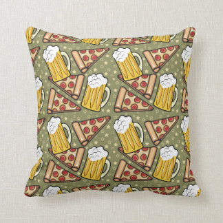 Beer and Pizza Graphic Pattern Throw Pillow
