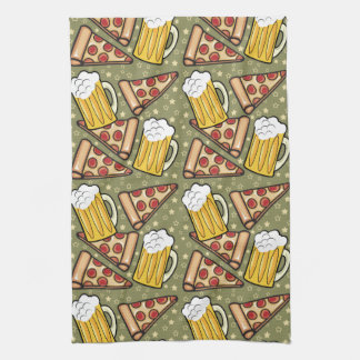 Beer and Pizza Graphic Pattern Vertical Kitchen Towel