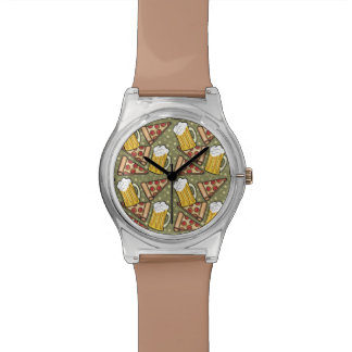 Beer and Pizza Graphic Pattern Wristwatches