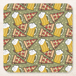 Beer and Pizza Graphic Square Paper Coaster