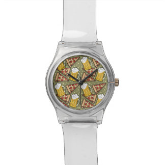 Beer and Pizza Graphic Wristwatch