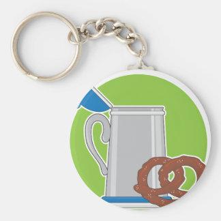 Beer and Pretzel Basic Round Button Keychain