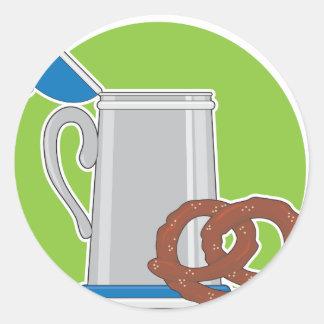 Beer and Pretzel Classic Round Sticker