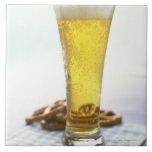 Beer and pretzels ceramic tile