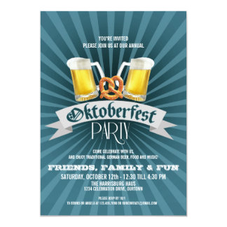 Beer and Pretzels Oktoberfest Party Invitations