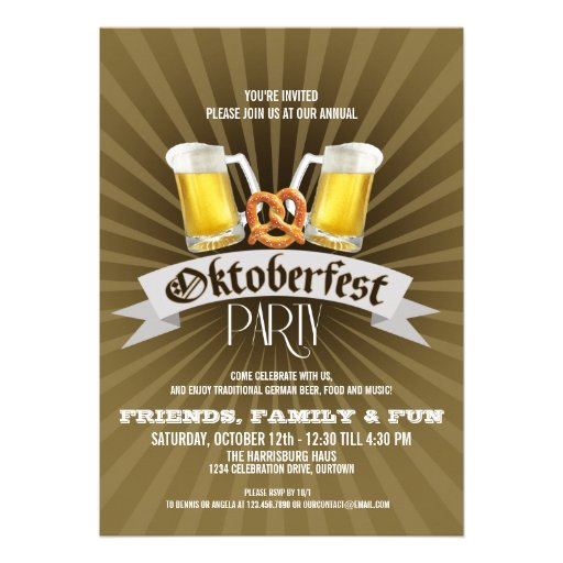 Beer and Pretzels Oktoberfest Party Invitations (front side)