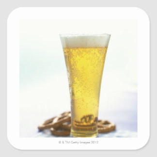 Beer and pretzels square sticker