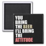 Beer, Attitude 2 Inch Square Magnet