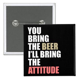 Beer, Attitude 2 Inch Square Button