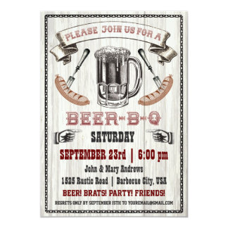 Beer-B-Q Party Invitation on Wood