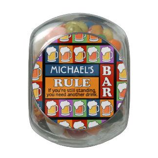 BEER Bar Pop Art CUSTOM NAME tins & jars Glass Candy Jar
