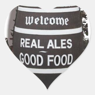 Beer Barrel real ale good food Heart Sticker