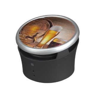 Beer barrel with beer glasses on a wooden table 2 bluetooth speaker
