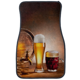 Beer barrel with beer glasses on a wooden table 2 car mat
