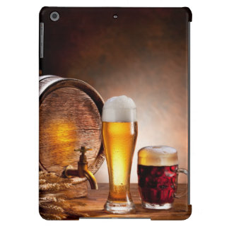 Beer barrel with beer glasses on a wooden table 2 case for iPad air