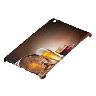 Beer barrel with beer glasses on a wooden table 2 iPad mini covers