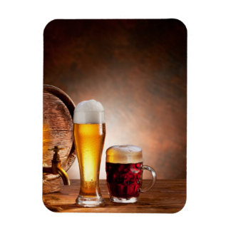 Beer barrel with beer glasses on a wooden table 2 magnet