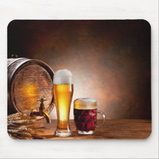 Beer barrel with beer glasses on a wooden table 2 mouse pad