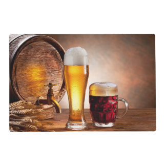 Beer barrel with beer glasses on a wooden table 2 laminated placemat
