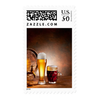 Beer barrel with beer glasses on a wooden table 2 postage