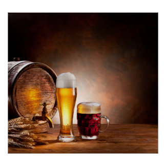 Beer barrel with beer glasses on a wooden table 2 poster