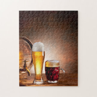 Beer barrel with beer glasses on a wooden table 2 puzzle