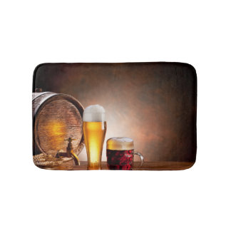 Beer barrel with beer glasses on a wooden table 2 bath mats