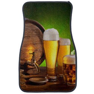 Beer barrel with beer glasses on a wooden table car floor mat