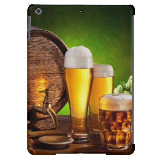 Beer barrel with beer glasses on a wooden table case for iPad air