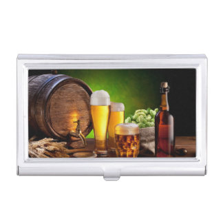 Beer barrel with beer glasses on a wooden table case for business cards