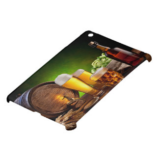 Beer barrel with beer glasses on a wooden table cover for the iPad mini